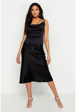 Womens Black Tall Satin Bias Midi Skirt