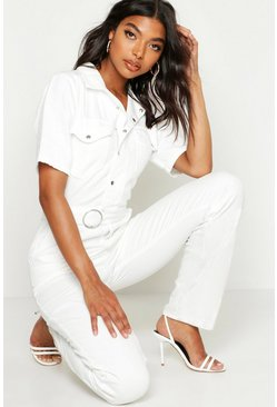 White Tall Denim Utility Boilersuit