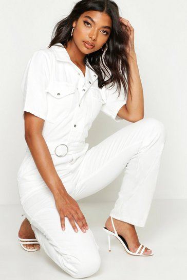 Womens White Tall Denim Utility Boilersuit