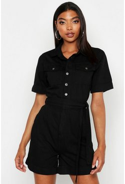 Womens Black Tall Tie Waist Denim Playsuit