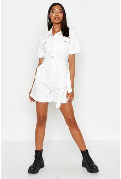 White Tall Tie Waist Denim Playsuit