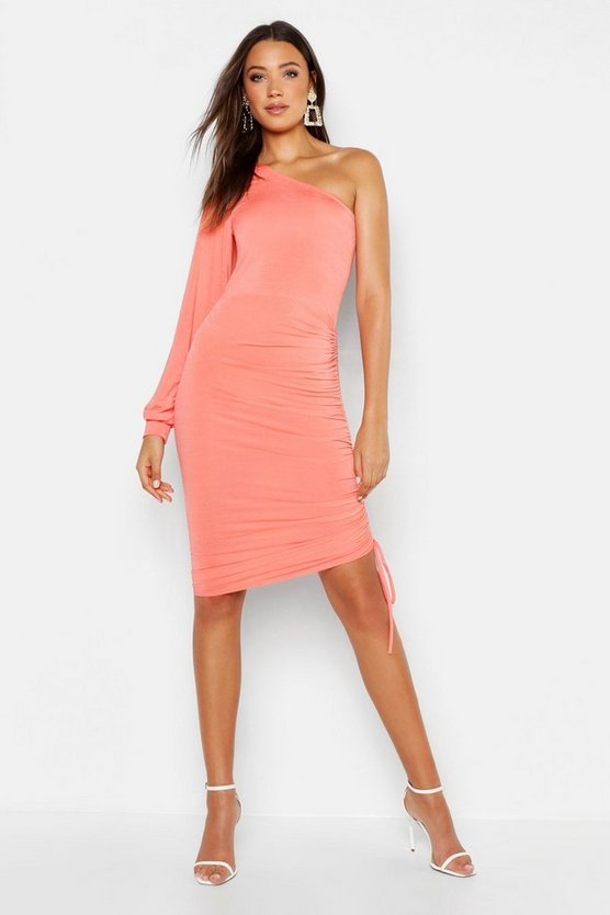 Womens Coral Tall Slinky One Shoulder Ruched Midi Dress