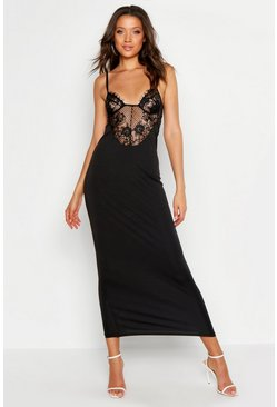 Womens Black Tall Lace Insert Bodycon Midi Dress