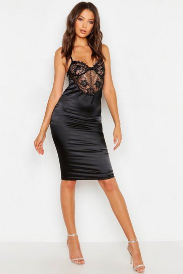 Womens Black Tall Satin Lace Cupped Bodycon Dress