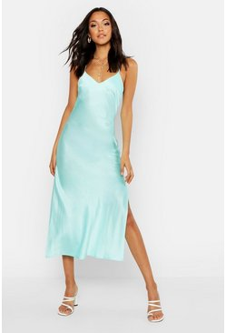 Womens Aqua Tall Satin Cowl Back Midi Slip Dress