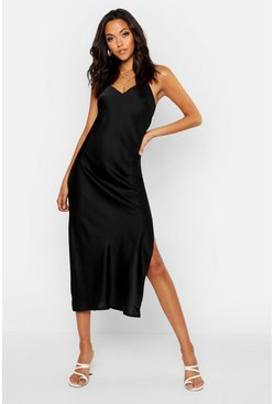Womens Black Tall Satin Cowl Back Midi Slip Dress