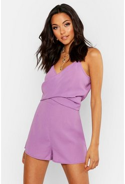 Tall Playsuit mit Twist-Front, Flieder, Damen
