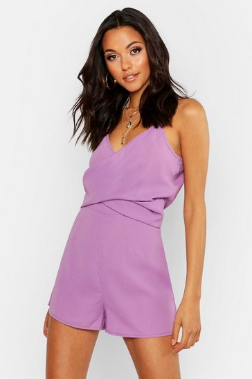 Womens Lilac Tall Twist Front Playsuit