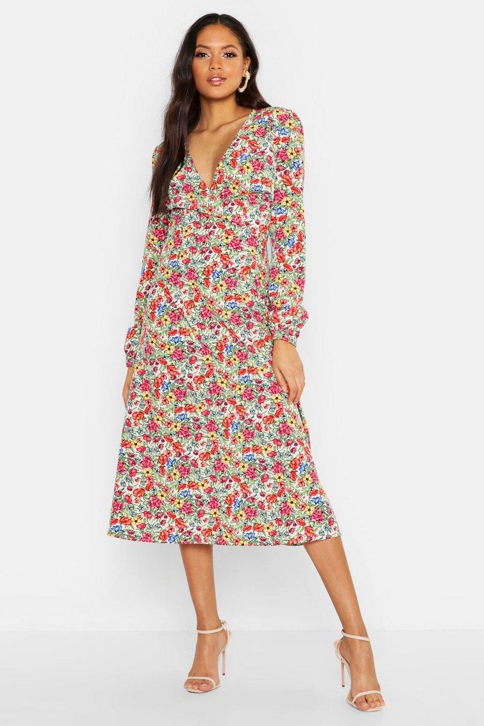 3202fe24d36e Tall Ditsy Floral Print Wrap Midi Dress | Boohoo