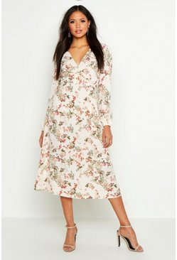 Womens Ivory Tall Floral Print Wrap Midi Dress