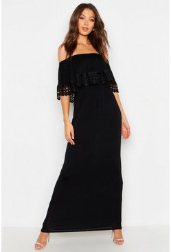 Womens Black Tall Bardot Trim Detail Maxi Dress
