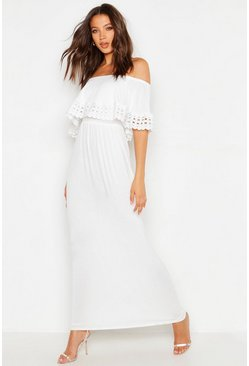 White Tall Bardot Trim Detail Maxi Dress