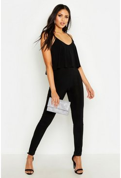 Womens Black Tall Strappy Frill Overlay Jumpsuit