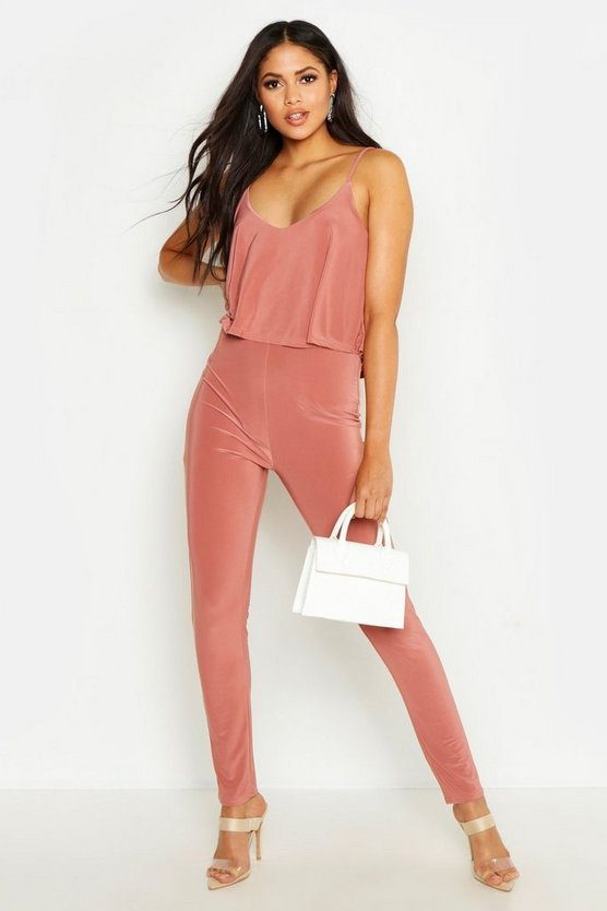 Rose Tall Strappy Frill Overlay Jumpsuit