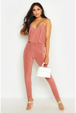 Womens Rose Tall Strappy Frill Overlay Jumpsuit