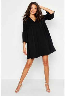 Womens Black Tall Plunge Smock Dress