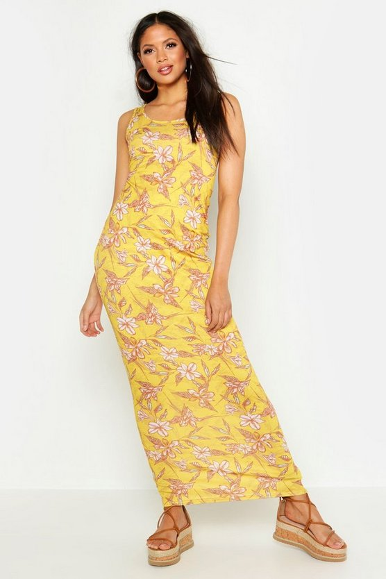 Womens Yellow Tall Floral Print Maxi Dress