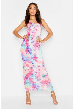 Womens Pink Tall Tie Dye Maxi Dress