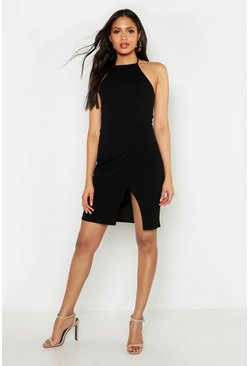 Womens Black Tall Halterneck Wrap Bodycon Dress