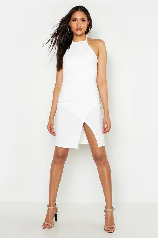 Womens Ivory Tall Halterneck Wrap Bodycon Dress
