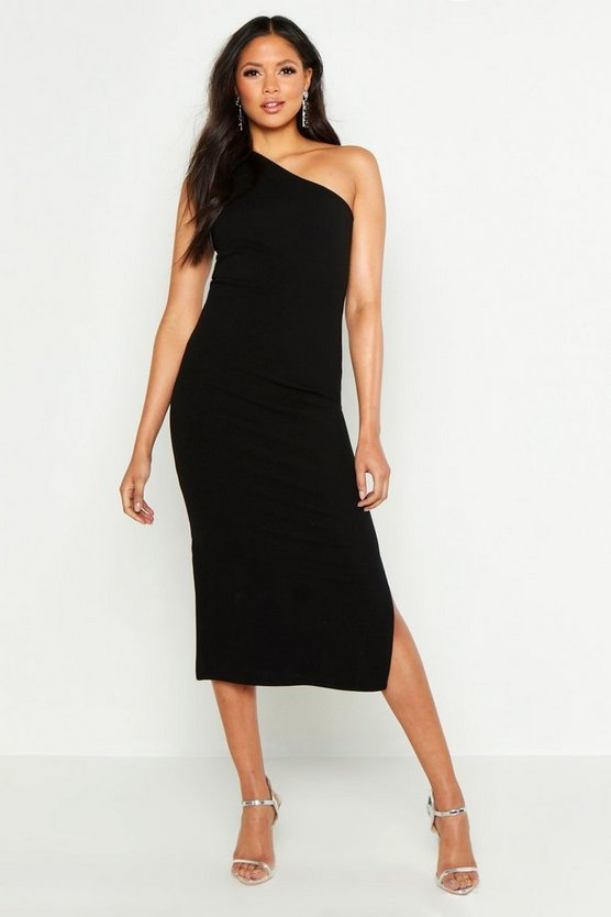 Womens Black Tall One Shoulder Split Detail Midi Dress