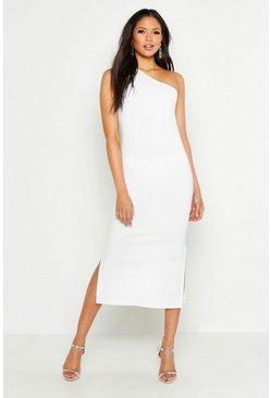Womens Ivory Tall One Shoulder Split Detail Midi Dress