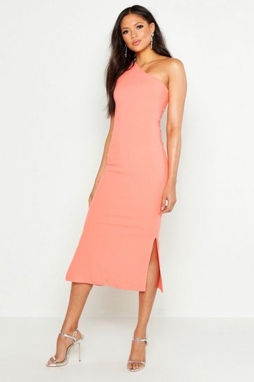 Womens Orange Tall One Shoulder Split Detail Midi Dress