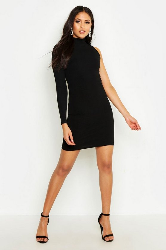 Womens Black Tall One Shoulder Bodycon Dress