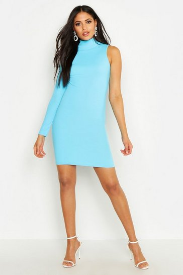 Womens Blue Tall One Shoulder Bodycon Dress