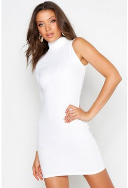 Womens Ivory Tall One Shoulder Bodycon Dress
