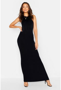 Womens Black Tall Basic Racer Maxi Dress