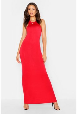 Womens Red Tall Basic Racer Maxi Dress