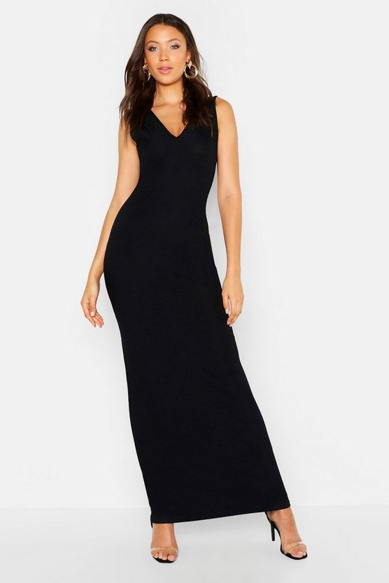 Womens Black Tall Racer Neck Rib Maxi Dress