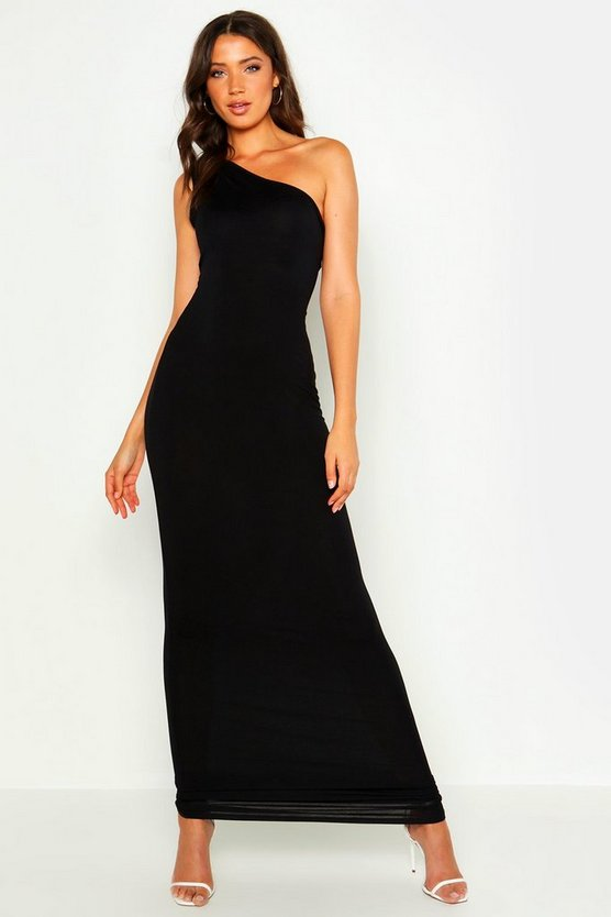 Womens Black Tall One Shoulder Maxi Dress