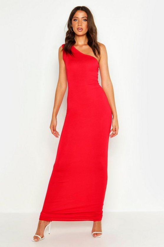 Womens Red Tall One Shoulder Maxi Dress