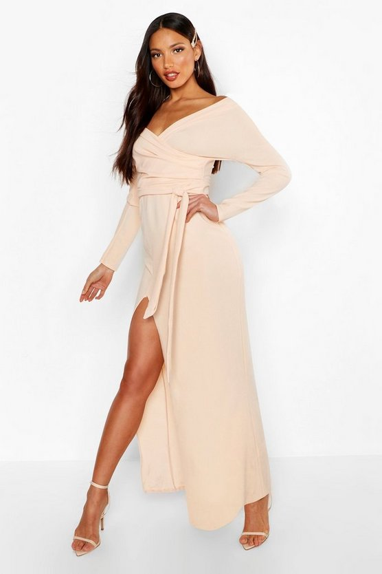 Womens Blush Tall Off The Shoulder Thigh Split Maxi Dress
