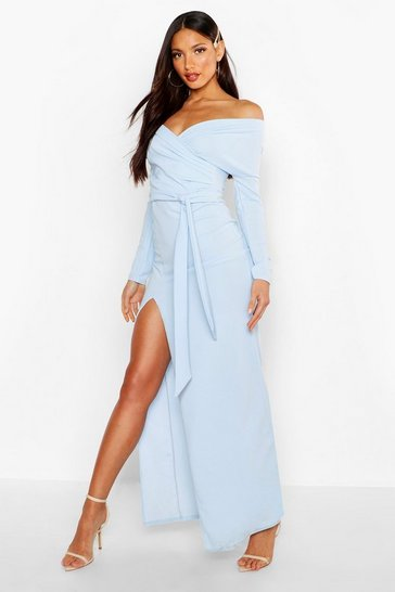 Womens Pastel blue Tall Off The Shoulder Thigh Split Maxi Dress