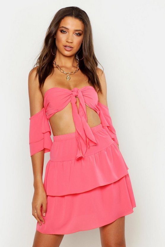 Coral Tall Tie Front Top & Skirt Co-Ord