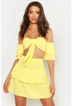 Womens Yellow Tall Tie Front Top & Skirt Co-Ord