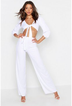 Womens White Tall Plaited Rib Belted Wide Leg Pants