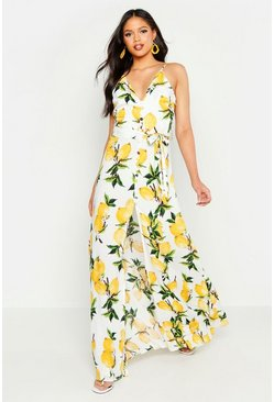 Womens White Tall Lemon Print Button Detail Maxi Dress