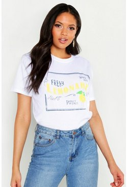 Womens White Tall Lemonade Slogan T-Shirt