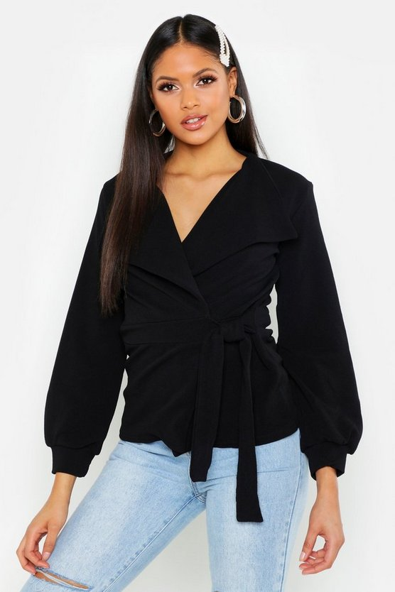 Womens Black Tall Belted Blazer