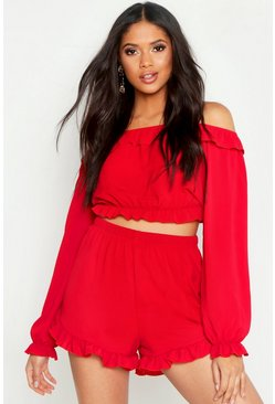 Womens Red Tall Off The Shoulder Shorts Co-Ord