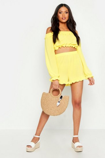 Womens Yellow Tall Off The Shoulder Shorts Co-Ord