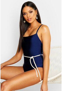Womens Navy Tall Rope Waist Belt Swimsuit