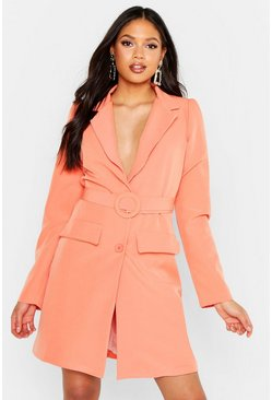 Womens Coral Tall Woven Self Belted Round Buckle Blazer Dress
