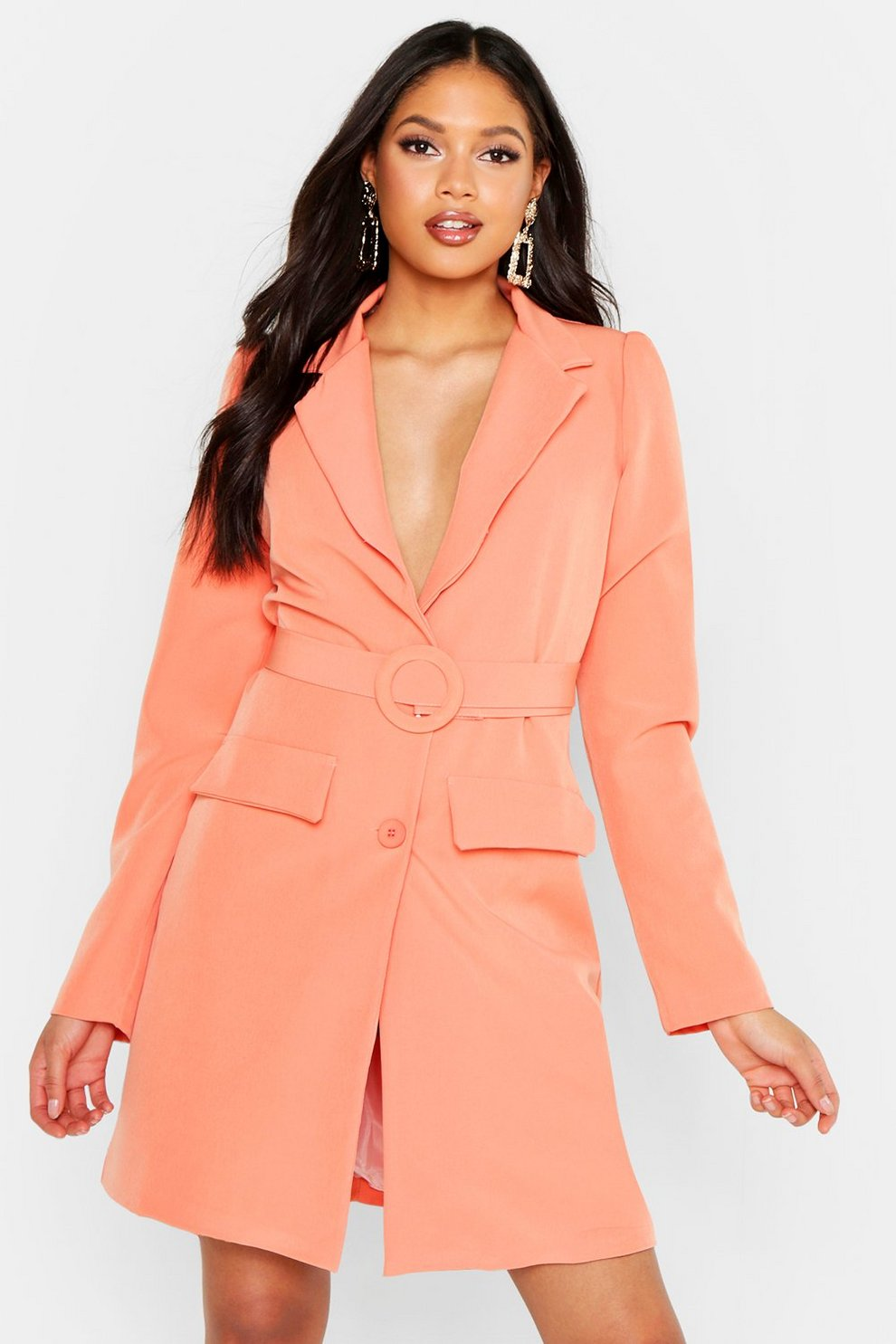 ef7410b70738d Tall Woven Self Belted Round Buckle Blazer Dress | Boohoo