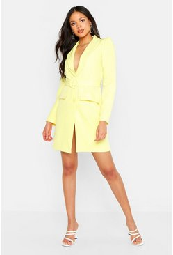 Yellow Tall Woven Self Belted Round Buckle Blazer Dress