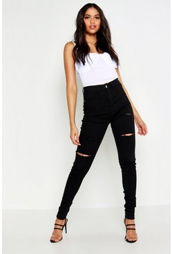 Schwarze Tall Ripped-Jeggings, Schwarz, Damen